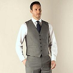 Racing Green - Grey sharkskin semi-plain regular fit 5 button waistcoat
