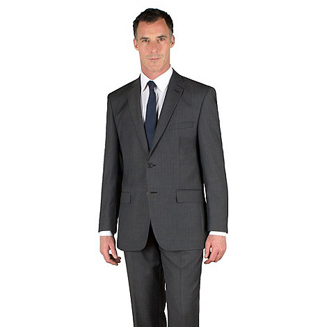 Racing Green - Grey with blue stripe 2 button suit jacket