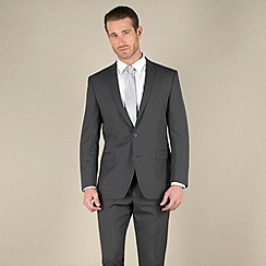 Racing Green - Grey narrow stripe regular fit 2 button suit