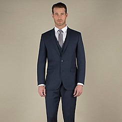 Racing Green - Navy sharkskin semi-plain tailored fit 2 button suit jacket