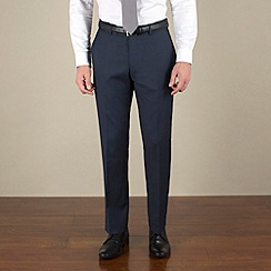 Racing Green - Navy sharkskin semi-plain tailored fit suit trousers