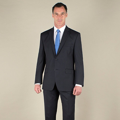 Racing Green - Navy with grey stripe regular fit 2 button suit jacket