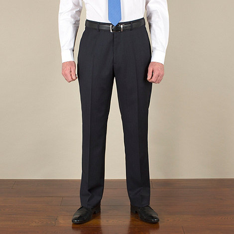 Racing Green - Navy with grey stripe regular fit suit trousers