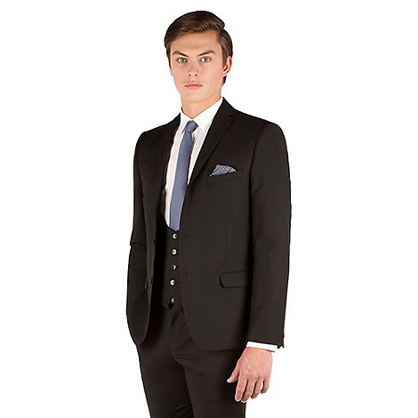 Red Herring - Black Plain Weave Slim Fit Jacket