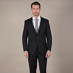 Stvdio by Jeff Banks - Black narrow stripe tailored fit 2 button suit
