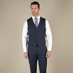 Racing Green - Navy sharkskin semi-plain tailored fit 5 button waistcoat