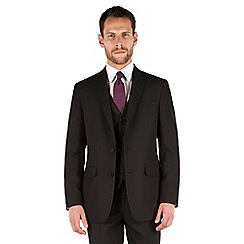 Thomas Nash - Black plain weave regular fit 2 button jacket