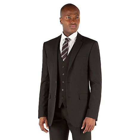 Thomas Nash - Black plain weave tailored fit 2 button jacket