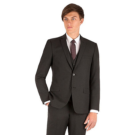 Thomas Nash - Charcoal plain weave slimfit 2 button jacket