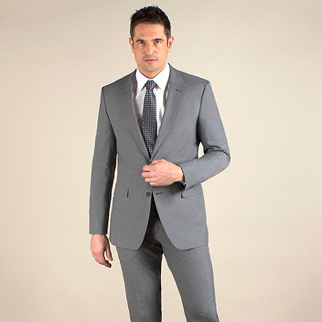 Thomas Nash - Grey plain weave tailored fit 2 button jacket