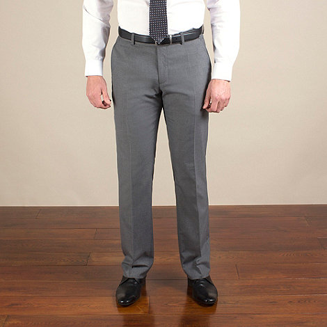 Thomas Nash - Grey plain weave tailored fit trouser