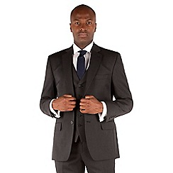 Racing Green - Charcoal twill regular fit 2 button suit jacket