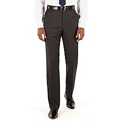 Racing Green - Charcoal twill regular fit suit trousers