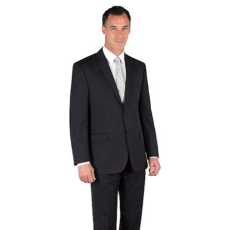 Racing Green - Navy twill regular fit 2 button suit jacket