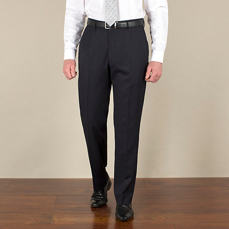 Racing Green - Navy twill regular fit suit trousers