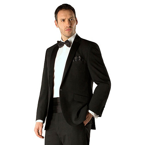 Racing Green - Black plain weave regular fit 1 button dresswear jacket