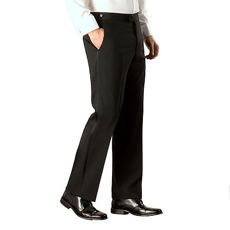 Racing Green - Black plain weave regular fit dresswear trouser