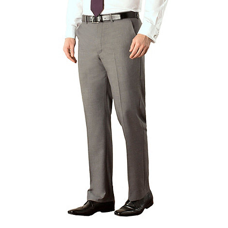 Occasions - Grey plain weave regular fit trouser