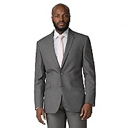 Occasions - Grey plain weave tailored fit 2 button jacket