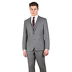 Occasions - Grey plain weave slim fit 2 button suit