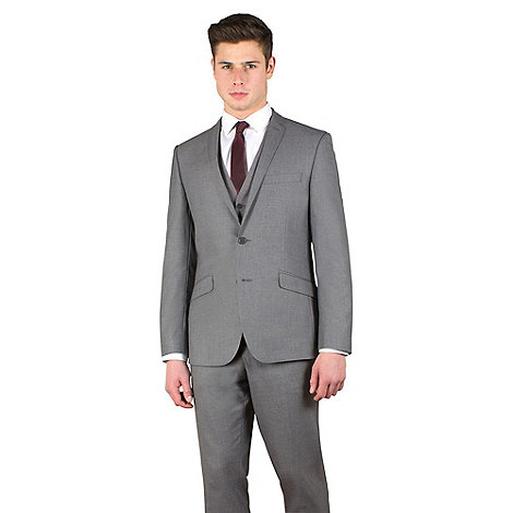 Occasions - Grey plain weave slim fit 2 button jacket