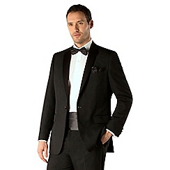 Occasions - Black plain weave regular fit 1 button dresswear suit