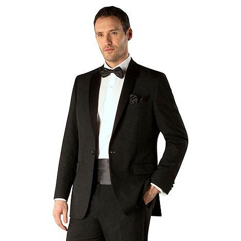 Occasions - Black plain weave regular fit 1 button dresswear jacket