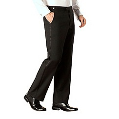 Occasions - Black plain weave regular fit dresswear trouser