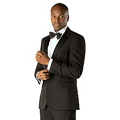 Occasions - Black plain weave tailored fit 1 button dresswear suit