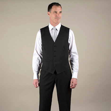 Karl Jackson - Black twill 5 button suit waistcoat