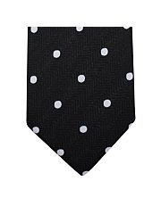 Black Herringbone Dots Tie