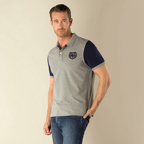 Racing Green - Hertford Grey Marl Polo with Navy Contrast Sleeves and Shield Embroidery