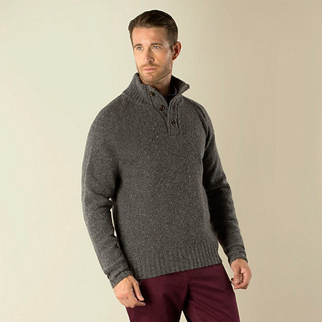 Racing Green - Carter Button Neck Nep Knit