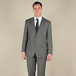 Racing Green - Grey sharkskin semi-plain regular fit 2 button suit jacket