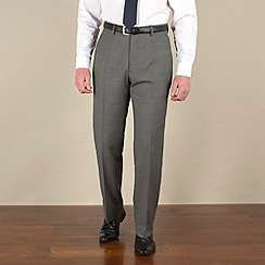 Racing Green - Grey sharkskin semi-plain regular fit suit trousers