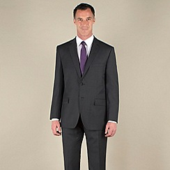 Racing Green - Charcoal sharkskin semi-plain regular fit 2 button suit jacket