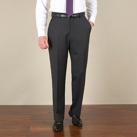 Racing Green - Charcoal sharkskin semi-plain regular fit suit trouser