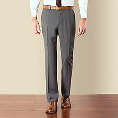 BEN SHERMAN - Grey twill kings slim fit suit trouser