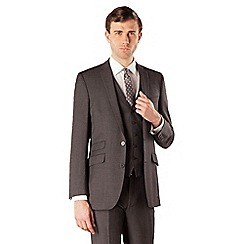 BEN SHERMAN - Grey flannel 2 button kings slim fit suit jacket