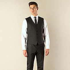 Ben Sherman - Charcoal check 5 button camden skinny fit suit waistcoat