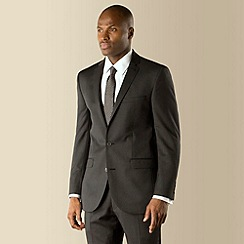 Racing Green - Grey narrow stripe tailored fit 2 button suit