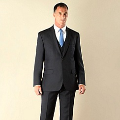 Racing Green - Navy semi-plain regular fit 2 button suit jacket