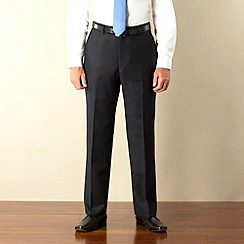 Racing Green - Navy semi-plain regular fit suit trouser