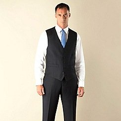 Racing Green - Navy semi-plain regular fit 5 button front waistcoat.