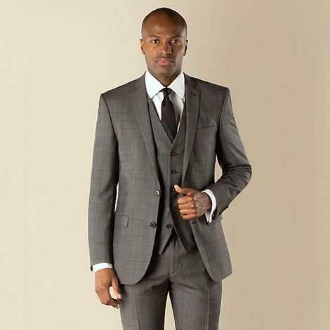 Racing Green - Charcoal with plum check tailored fit 2 button suit jacket
