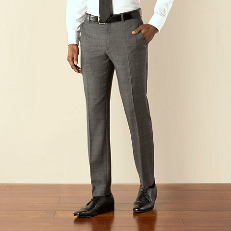 Racing Green - Charcoal with plum check tailored fit trouser