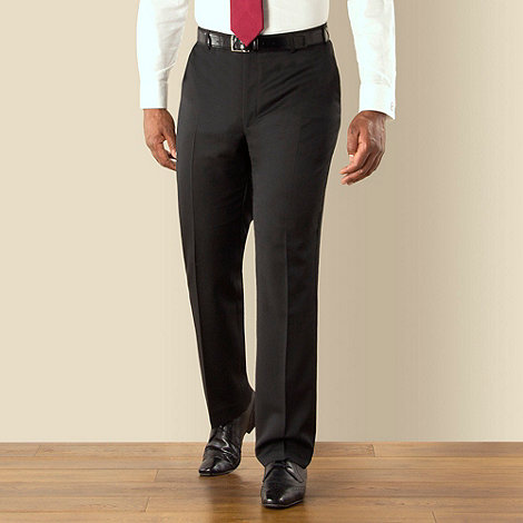 Centaur Big & Tall - Black narrow stripe plain front regular fit suit trouser
