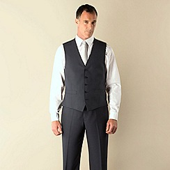 Karl Jackson - Blue pick and pick 5 button regular fit suit waistcoat