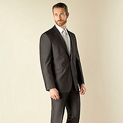 Karl Jackson - Charcoal textured stripe 2 button regular fit suit