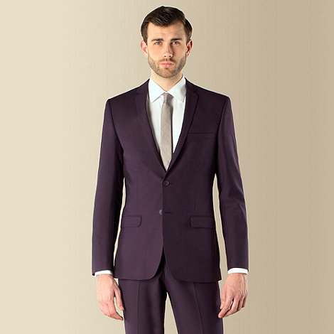 Red Herring - Purple plain weave 2 button slim fit suit jacket